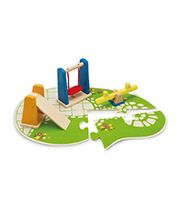 Get the dollhouse family out in the fresh air with this cute playground. Children will love choosing where to arrange the playground equipment on the flower-lin Dollhouse Family, Wooden Dollhouse, Wooden Dolls House Furniture, Dollhouse Furniture, Wooden Toy Boxes, Wooden Toys, Hape Toys, Playground Set, Plan Toys