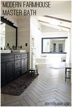 Budget friendly modern farmhouse/rustic glam master bathroom makeover, with…