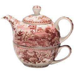 Stash Tea Red Transferware Tea for One : tea for ones