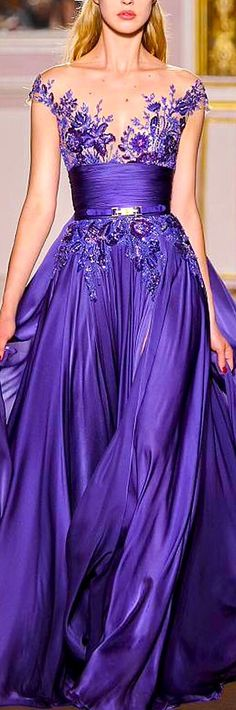 Zuhair Murad Couture Love this color, but why does everyone feel the need to have so much exposed at the top?