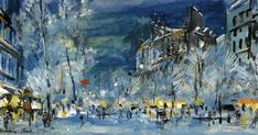 Konstantin Korovin (Russian Impressionist, 1861-1939)         Paris in winter         Paris by night on Rue Lepic in Montmartre          ...