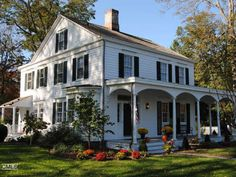 Beautiful old home with awesome front porch. I love the white with black shutters. Built in 1830 with 4,657 sq. ft.