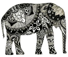 zentangle and doodle Elephant Love, Elephant Art, Indian Elephant, Elephant Doodle, Elephant Drawings, Henna Elephant, White Elephant, Elephant Outline, Mandala Elephant