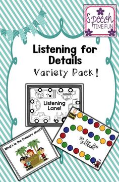 Speech Time Fun: Listening for Details Variety Pack!   7 listening activities included!!! Fun themes and different levels.