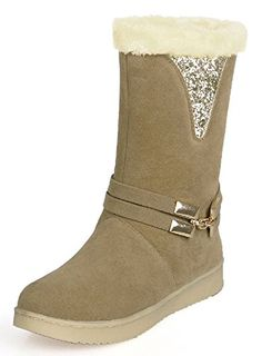 f7c102258c36c6 IDIFU Womens Antiskid Sequins Fur Lined Flat Snow Boots Mid Calf Winter  Booties Camel 4 BM