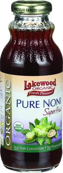 USDA organic product. Not from concentrate. Nature's Super Fruits. No preservatives. No citric acid. No sodium benzoate. No potassium sorbate. Lakewood's Organic Pure Noni Juice is 100% pure with no a