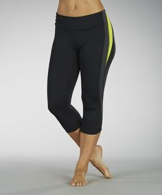 Take a look at this Lemon & Charcoal Pieced Capri Leggings by Marika on #zulily today!