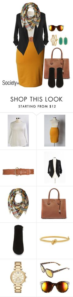 """Plus Size Mustard Pencil Skirt & Blazer - Society+"" by iamsocietyplus on Polyvore featuring Steve Madden, MICHAEL Michael Kors, Kate Spade, Michael Kors, BP. and Kendra Scott"