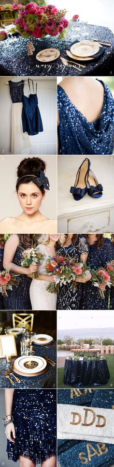Navy Sequin Wedding Inspiration | EAD Maybe a little to many sequins -tablecloths, etc., however the dresses are stunning!  Love the different styles