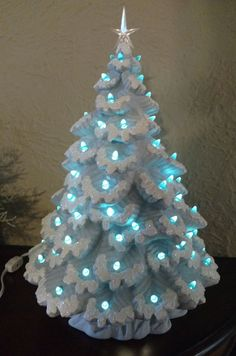 Lighted Ceramic Christmas Tree Nowell Sierra Spruce 17 inch Blue w/ Draped Base #Nowell