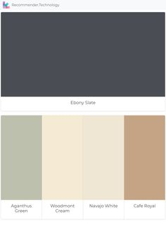 Benjamin Moore Navajo White, Benjamin Moore Paint, Benjamin Moore Colors, House Paint Exterior, Interior And Exterior, Paint Color Palettes, Paint Colors, Ebony Color, White Cafe