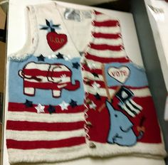 Vintage 1996 Eagles Eye Republican GOP America Election Vote Campaign Sweater Medium Vest by AntiquesandStuff56 on Etsy