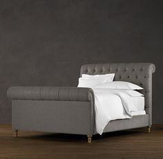 must have this sleigh bed!  Fabric: vintage Velvet  Color: Fog