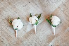 Cotton Boll Boutonnieres | photography by http://simplybloomphotography.com/