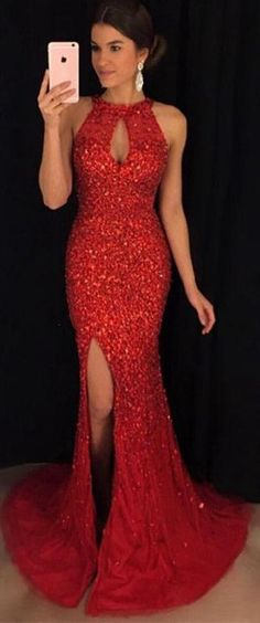 Fashion Mermaid Floor-Length Prom Dress with Full Beading,Long Formal Dress LP071