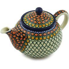 Polish Pottery 30 oz Tea or Coffee Pot | Boleslawiec Stoneware | Polmedia H1511H | Polmedia
