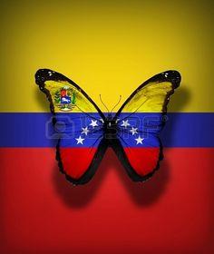Venezuela bandera mariposa con el escudo de armas, aislado en el fondo de la bandera Foto de archivo - 17540726