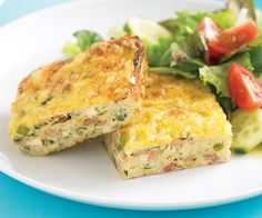 Zucchini slice recipe - By Australian Women's Weekly, Easy to make and packed full of goodness, this tasty zucchini slice is beautiful enjoyed warm with a side salad, or refrigerated and popped in a lunchbox for work or school. Healthy Mummy Recipes, Bacon Recipes, Baby Food Recipes, Vegetarian Recipes, Cooking Recipes, Quiche Recipes, Weekly Recipes, Dinner Recipes, Savoury Recipes