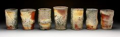 Set of Tumblers. Fired in the complimentary Soda Firing at Pottery West during Tom Coleman's Super-Hot Shino Workshop June Tumblers, Pillar Candles, Mud, Stoneware, Workshop, Clay, Pottery, Passion, Fire