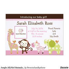 Jungle Jill/Girl Animals Photo Birth Announcement from Zazzle