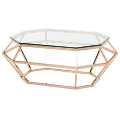 Trilce Coffee Table In Clear|gold | Memoky.com