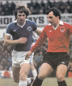 30th September 1978. Everton defender Colin Todd closing down Bristol City full back Gerry Sweeney, at Ashton Gate.