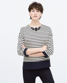 COMBINED STRIPED TOP WITH NECKLACE