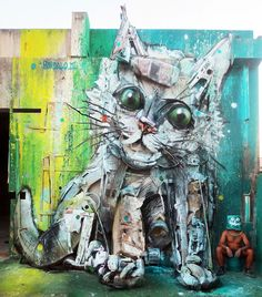 Cats in Street Art and Graffiti Street Installation, Street Art Utopia, Street Art Graffiti, Urban Street Art, Urban Art, Urbane Kunst, Trash Art, Amazing Street Art, Arte Pop