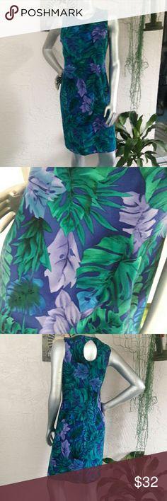 c51e44c2119d14 R K Tropical Paradise Silky Shift Dress Brand R K original petites Size 8P  Perfect condition 100%