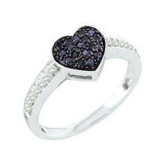 0.34 Carat (ctw) 10k White Gold Round Black & White Diamond Ladies... ($319) ❤ liked on Polyvore featuring jewelry, rings, white, black engagement rings, white gold heart ring, white ring, black white ring and heart shaped rings