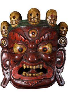 "SOLD Fierce Red Mahakala Mask 10""  $150"