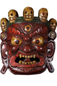"SOLD Fierce Red Mahakala Mask 10"" $150"