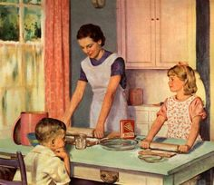 Illustration of Mother and Daughter Baking Together by Douglass Crockwell Giclee Print Photo Vintage, Vintage Ads, Vintage Prints, Vintage Apron, Vintage Woman, Vintage Pictures, Vintage Images, Retro Images, Ed Wallpaper