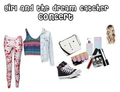 """""""Girl and the dream catcher  concert"""" by dj2000noname ❤ liked on Polyvore featuring Converse, Lulu Guinness, Calvin Klein, Smashbox and Gucci"""