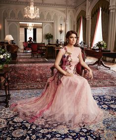 Princess Eugenie of York posed in the sitting room of Royal Lodge, Windsor Great Park, Berkshire, England, UK, for the September 2016 issue of Harper's Bazaar magazine.