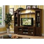 4 pc Dita walnut finish wood slim profile entertainment center wall unit with TV stand and side towers. This set features a walnut finish wood , TV stand with 2 glass front doors and open center shelves , and 2 side towers with a closed cabinet on the bo