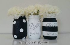 Check out this item in my Etsy shop https://www.etsy.com/listing/506815858/black-and-white-mason-jar-setmason-jar