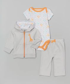 Look at this Yoga Sprout White & Orange Giraffe Bodysuit Set - Infant on #zulily today!