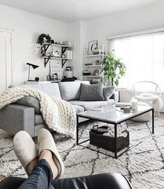 Having small living room can be one of all your problem about decoration home. To solve that, you will create the illusion of a larger space and painting your small living room with bright colors c… Boho Living Room, Living Room Grey, Black White And Grey Living Room, Living Room Decor Grey Couch, Bedroom With Sofa, Monochromatic Living Room, Winter Living Room, Nordic Living Room, Cozy Living