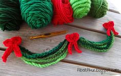 """Here is a simple little project you can make to add cheer around the house. Crocheted chains make """"evergreen"""" garland and are topped off..."""
