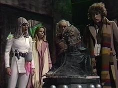 Doctor Who: cobwebbed Davros from Destiny of the Daleks, with Tom Baker as the Fourth Doctor
