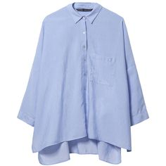 Zara Structured Shirt ($50) ❤ liked on Polyvore featuring tops, shirts, light blue, structured top, blue top, seashell top, zara tops and shell tops
