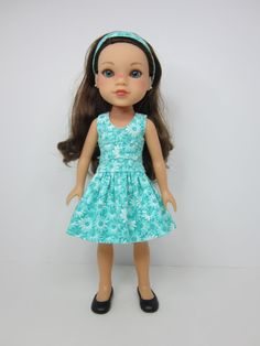 Hearts 4 Hearts doll clothes-   Aqua and white flowered  lisianthus dress and headband.