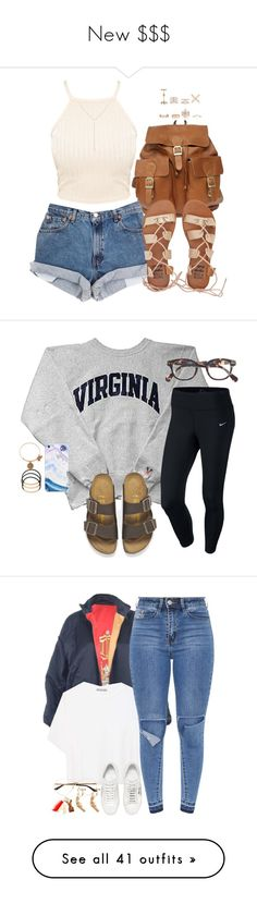 """New $$$"" by fingerfckmyswag ❤ liked on Polyvore featuring Billabong, New Look, Loren Stewart, NIKE, Birkenstock, J.Crew, BP., Alex and Ani, Christian Dior and Vince"