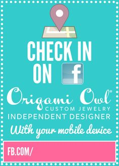 pinner says: Check In On FB Print. Designed to print as a 5x7. Frame it and display it at your Origami Owl jewelry bars and events to get more fans on fb!  Bottom portion allows you to add your own custom fb address.  For more graphics like my fb page: http://facebook.com/OrigamiOwlKaylaScully - Kayla Scully, Mentor #14951
