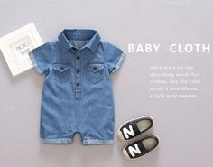 53af90390b01 Baby Clothing 2017 New Newborn Clothes Baby Cotton Denim girls Romper Short  -Sleeve Baby Rompers Fit Month