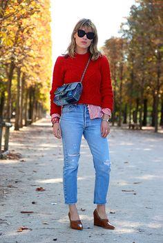 4. Jeans + vermelho.