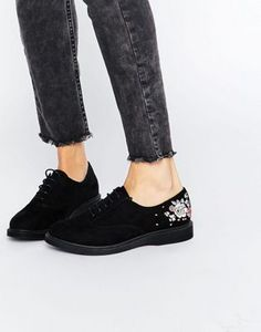 New Look Suedette Embroidered Lace Up Brogues