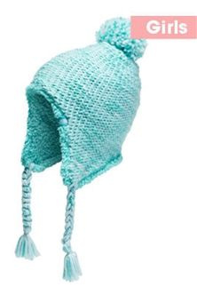 6e304d3454b The North Face Fuzzy Earflap Beanie for Girls in Origin Blue and Mint Blue  NF00A9FT-7HV