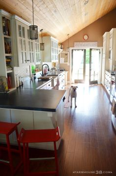 I LOVE the soapstone inspired cement countertops!! I think I'm going this route!!